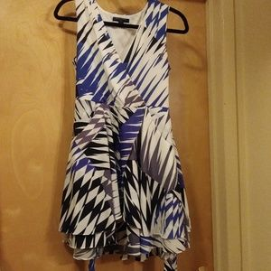 Faux Wrap Dress w/ pockets. BR 10P Blu/Gry/White